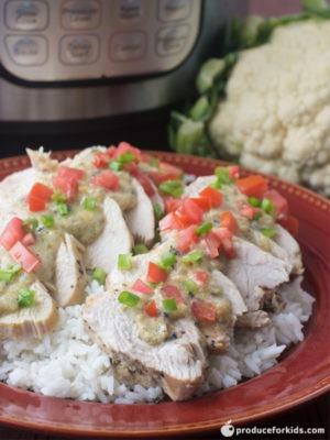 Instant Pot Chicken with Hatch Chili Cauliflower Cheese Sauce