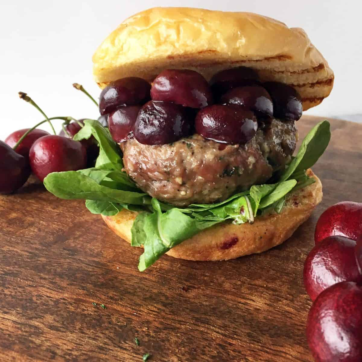 Lamb Burger with Sweet Red Cherries & Arugula