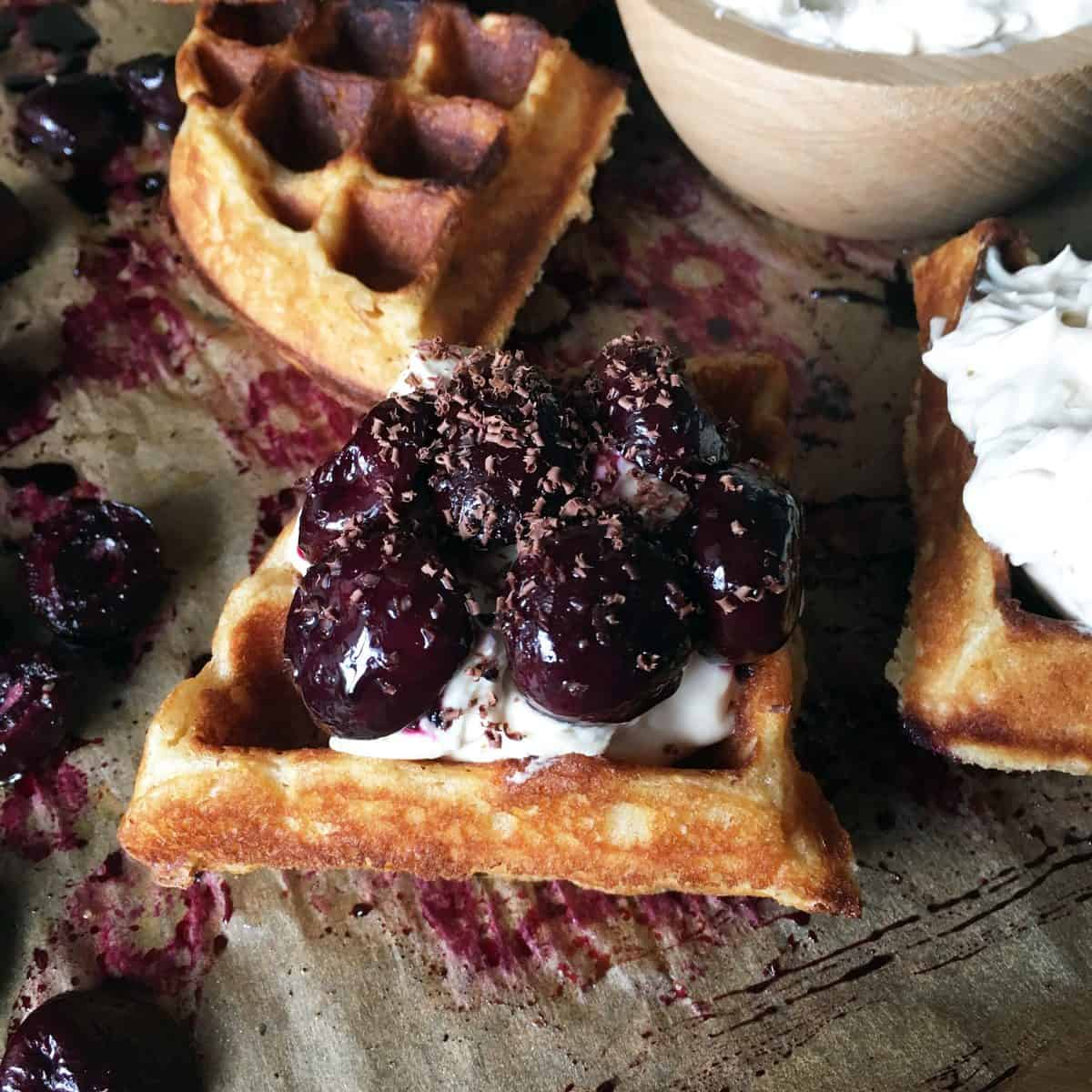 Roasted Cherries & Mascarpone Ricotta Whipped Cream