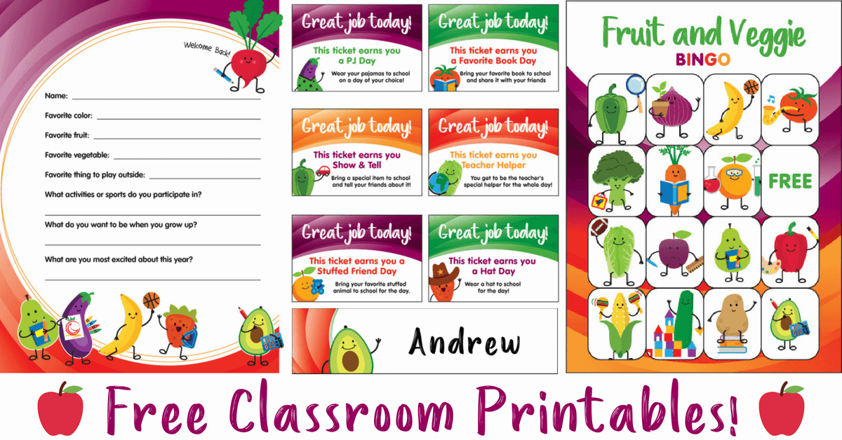 Free Classroom Printables; Free Teacher Printables | Produce for Kids