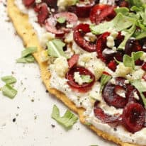 Cherry Flatbread with Ricotta, Gorgonzola & Arugula