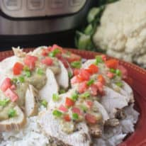 Instant Pot Chicken with Hatch Chili Cauliflower Sauce