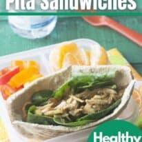 chicken salad pita sandwhich pinterest image