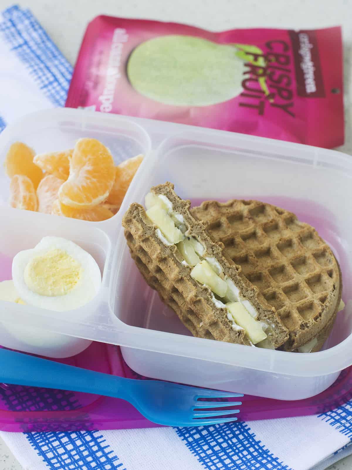 easy breakfast wafflewich bento box