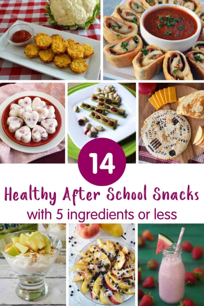 Collage of after school snack recipe images