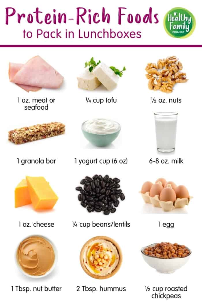 Infographic of protein-rich foods for the lunchbox