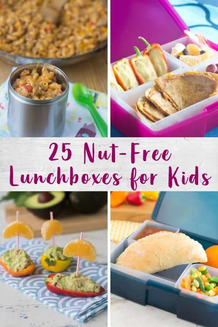 Collage of nut free lunchbox images