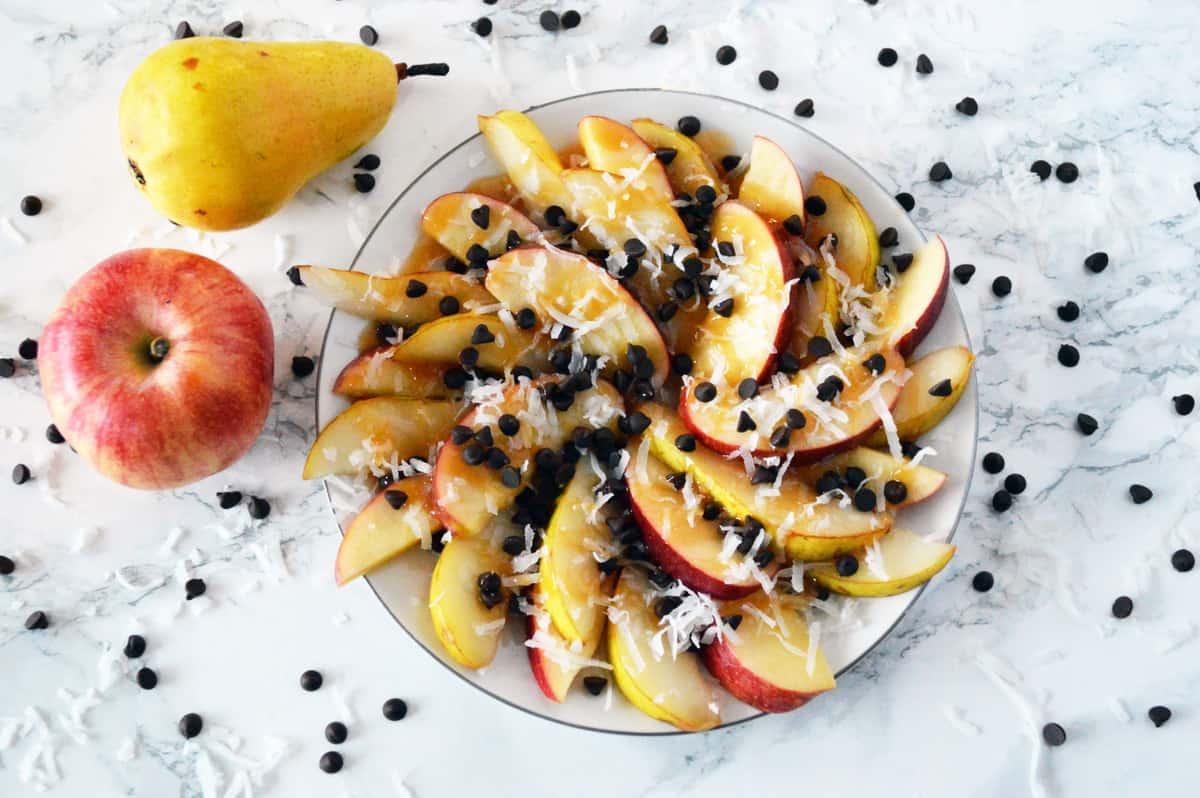 Easy Pear and Apple Dessert Nachos