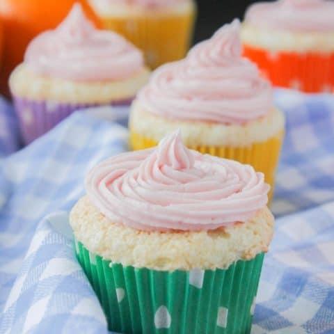Angel Food Cupcakes with Blood Orange Frosting