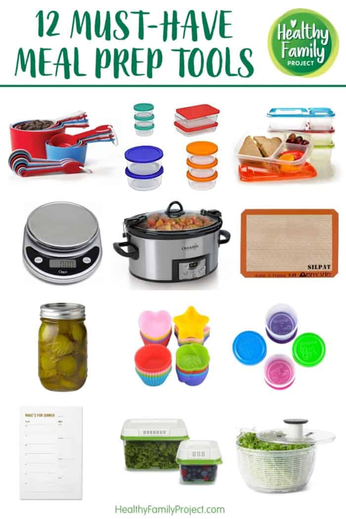 Collage of meal prep tools on white background.