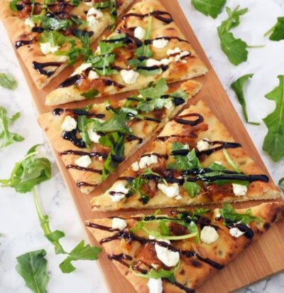 Caramelized Onion, Goat Cheese & Arugula Flatbread