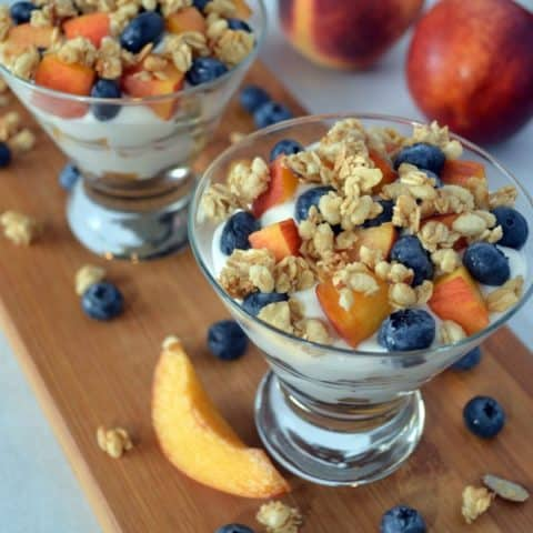 Stone Fruit Yogurt Parfaits with Blueberries