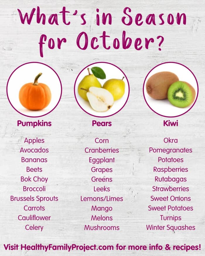 What S In Season For October Fall Seasonal Produce Produce For Kids