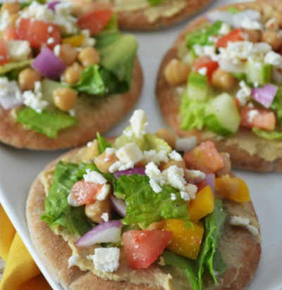 Mini Mediterranean Chopped Salad Flatbreads