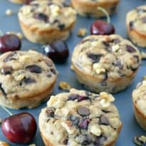 Chocolate Chip Cherry Muffins with Walnuts