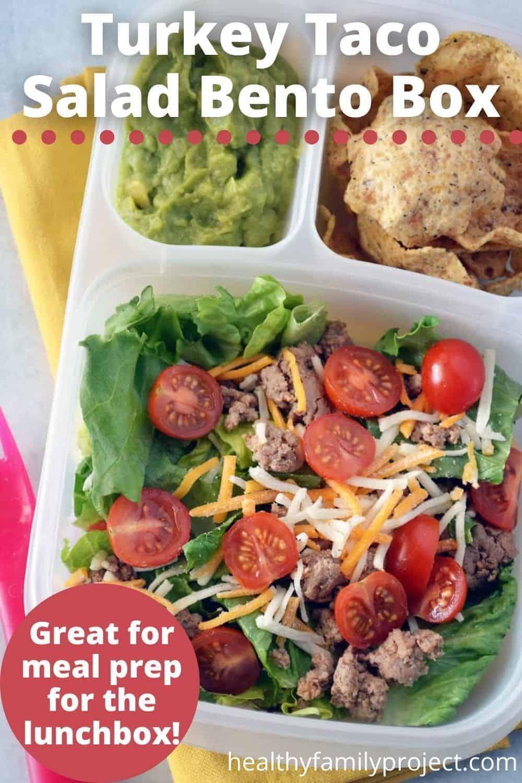 turkey taco salad bento box pin