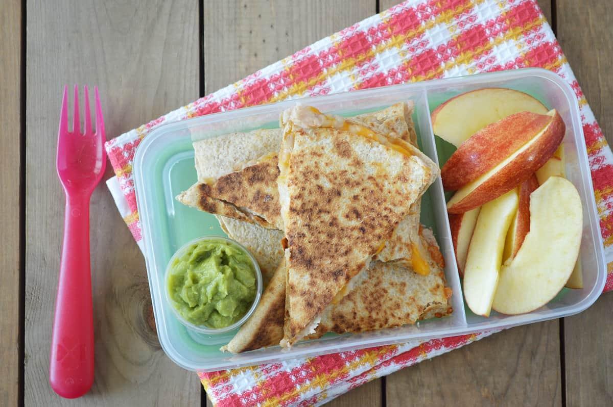Cheese and Bean Quesadilla Bento Box
