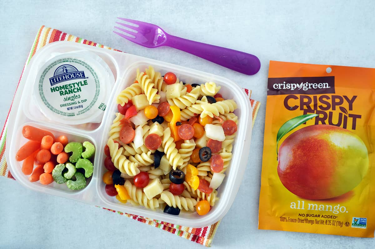 Easy Pizza Pasta Salad in lunch box