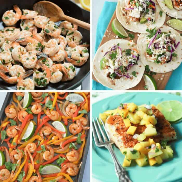 Collage of seafood recipes