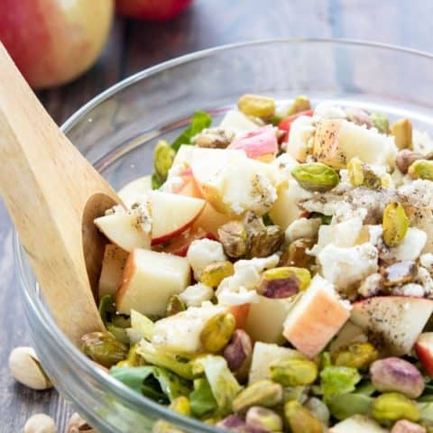 Shredded Brussels Sprouts Salad with Apples & Pistachios