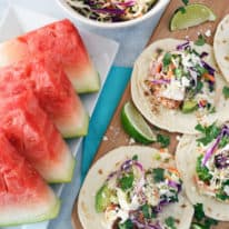 Baked Fish Tacos with Watermelon Rind Slaw