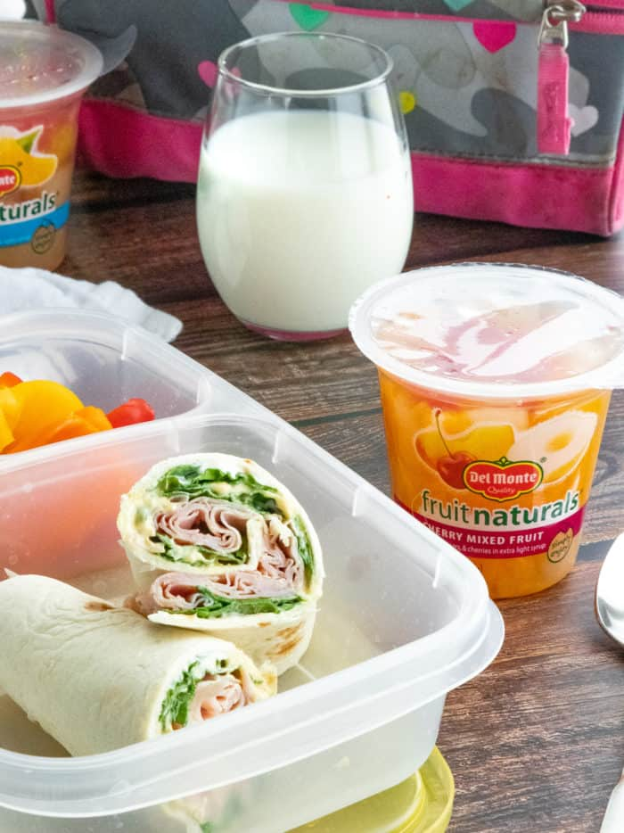 Ham & Spinach Wraps in Lunchbox with fruit cup