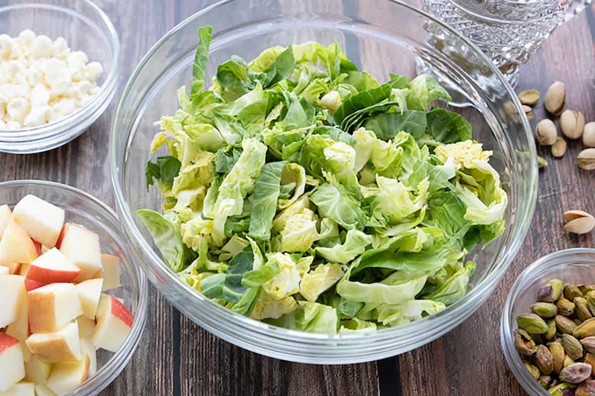 Tasty Shredded Brussels Sprouts Salad with Apples & Pistachios