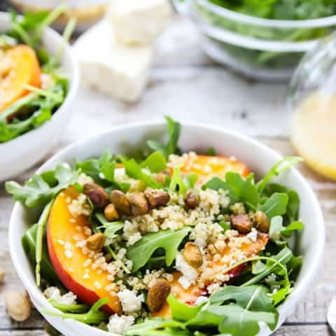 Arugula-Quinoa Salad with Fresh Peaches