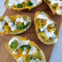 Broccoli Cheddar Stuffed Baked Potato Skins