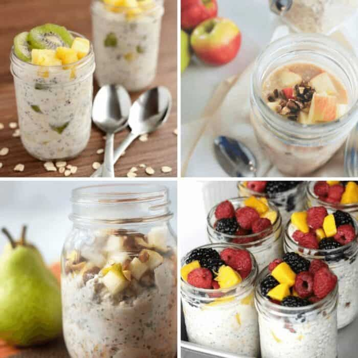 Collage of overnight oats recipes