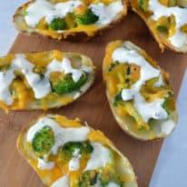 Broccoli Cheddar Stuffed Baked Potato Skins