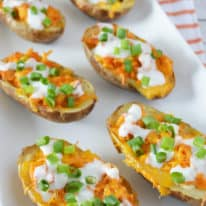 Buffalo Chicken Stuffed Baked Potato Skins