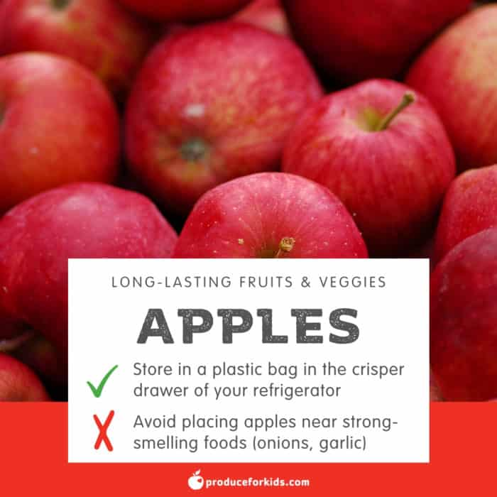 Infographic of storage tips for apples