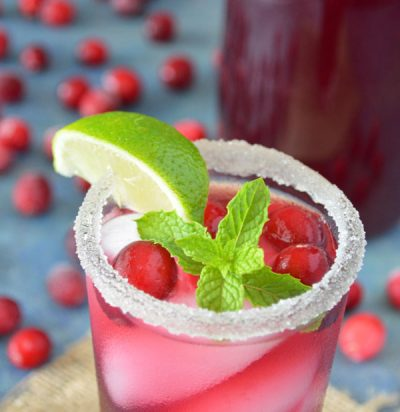 Pomegranate Mojito Mocktail with Cranberries