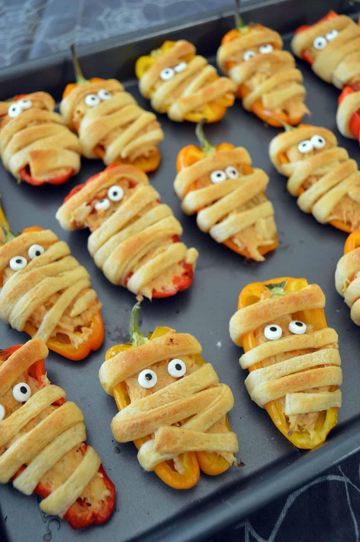 Stuffed Mini Sweet Pepper Mummies