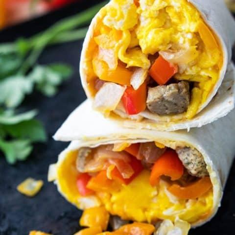 Veggie Breakfast Burritos with Turkey Sausage
