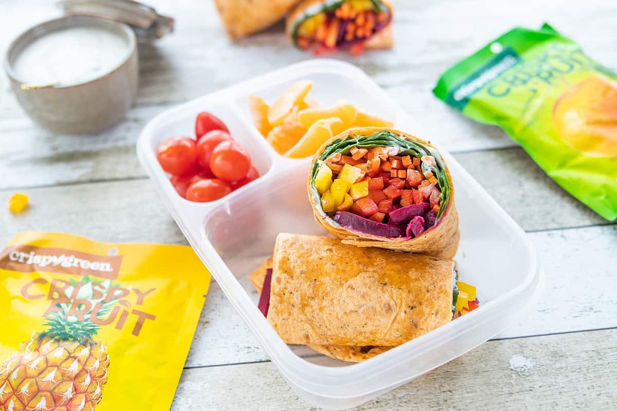 Rainbow Veggie Wraps feature image in bento box