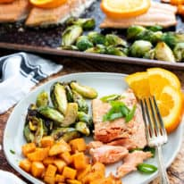 Orange-Soy Glazed Salmon with Roasted Sweet Potatoes & Brussels Sprouts