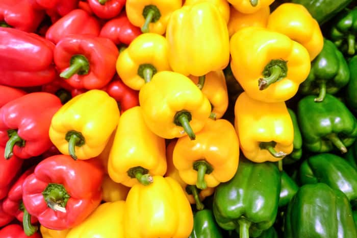 Yellow, red and green bell peppers