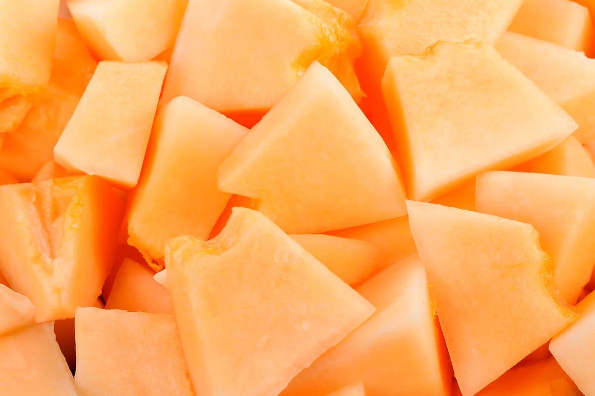 close up of chopped cantaloupe