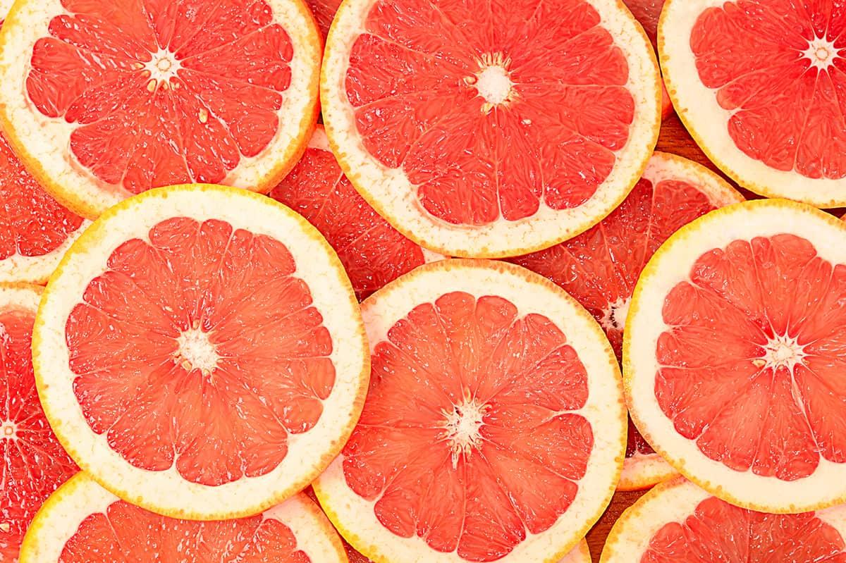 Sliced grapefruit background