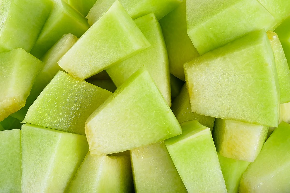 Close up of chopped honeydew melon