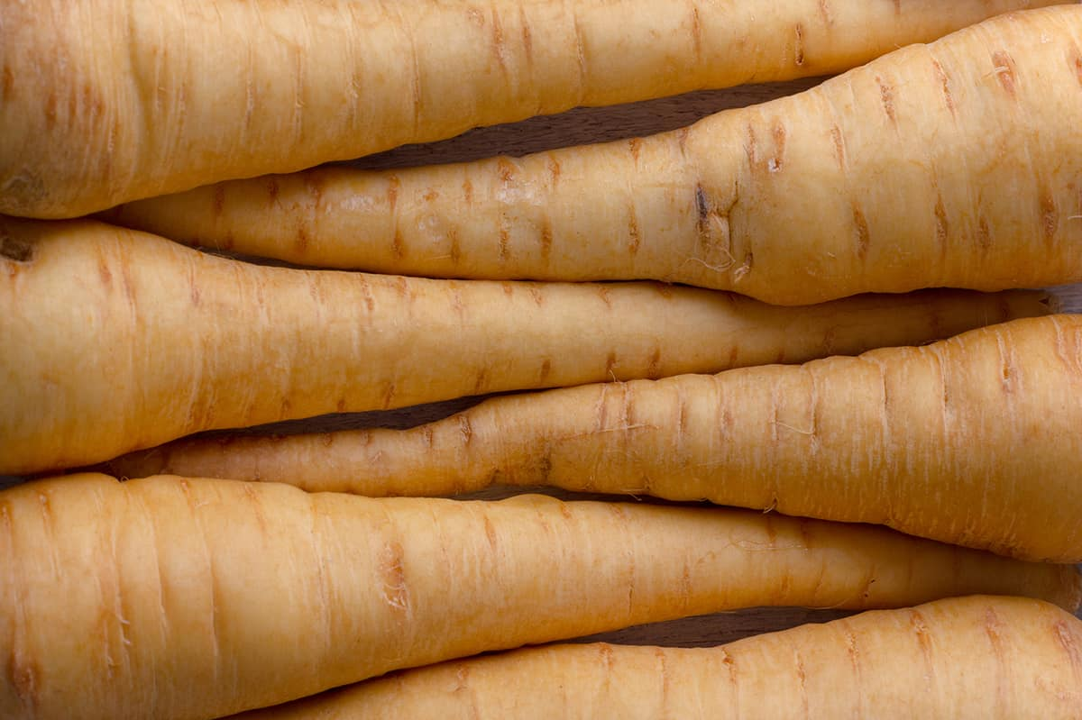 close up of parsnips