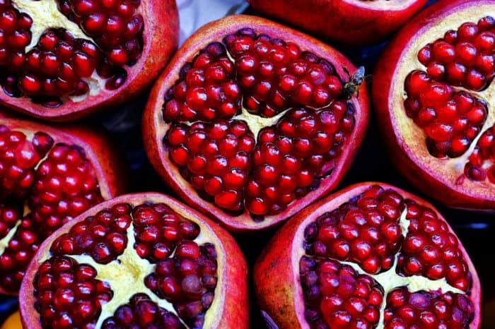 Close up shot of cut pomegranate fruits