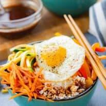 Vegetarian Bibimbap Bowls with Gochujang Soy Sauce