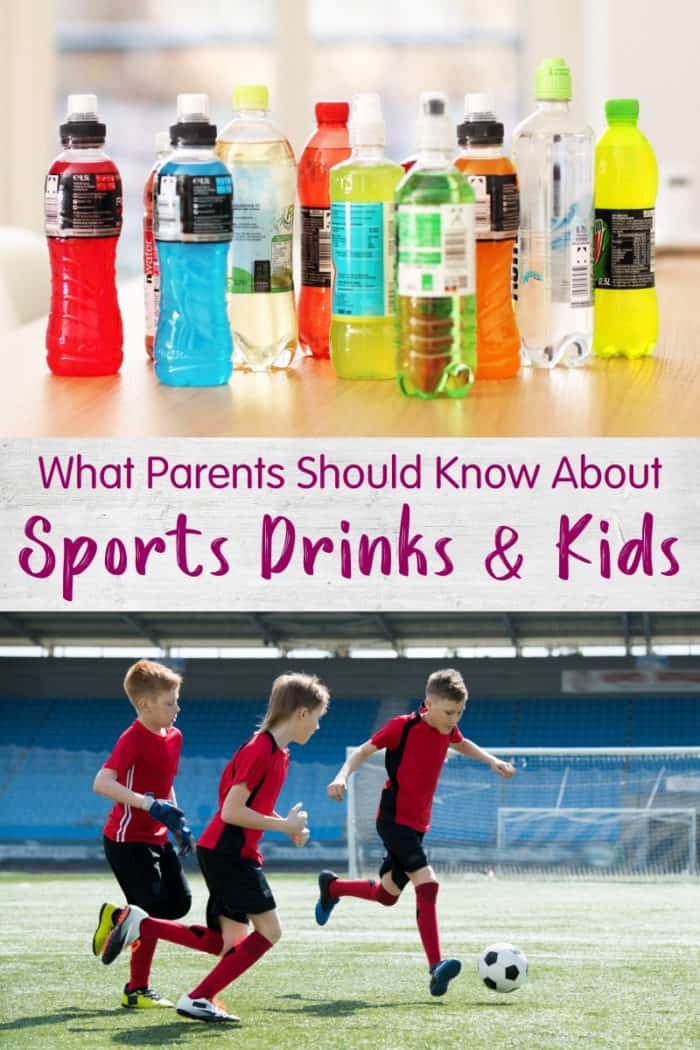 Stacked image of various sports drinks on table and kids playing soccer