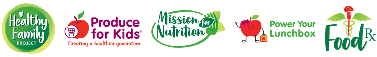 Our Brand Logos: Healty Family Project, Produce for Kids, Mission for Nutrition, Power your Lunchbox, FoodRX