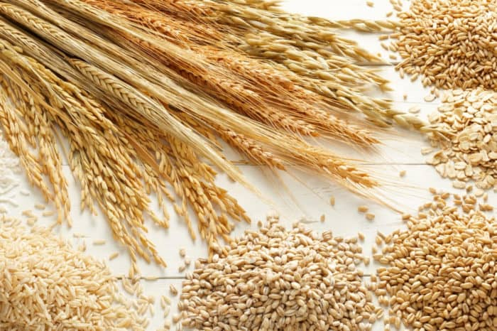Wheat and other whole grains on wood background