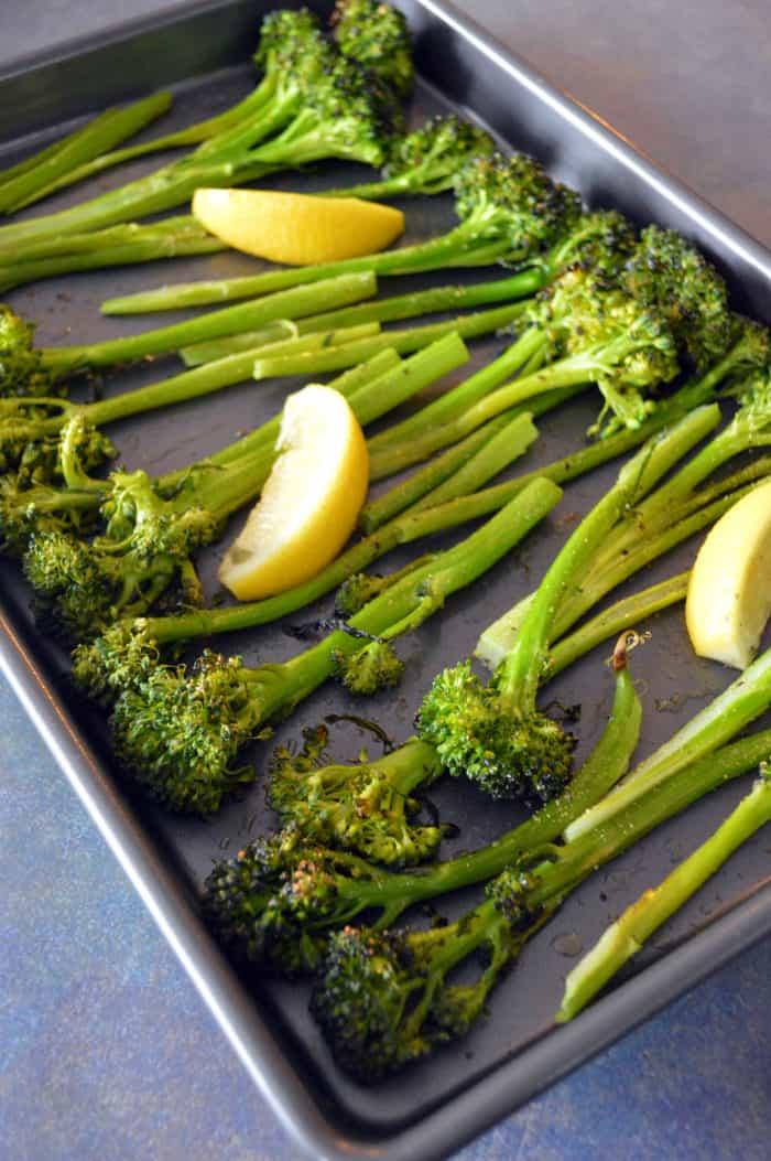 Roasted broccoli on sheet pan