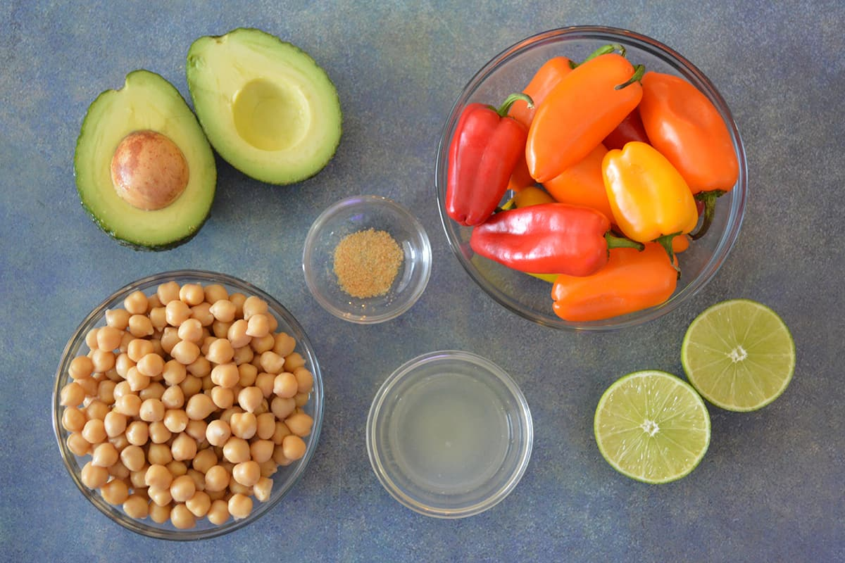 Smashed Chickpea Salad Stuffed Mini Sweet Peppers ingredients